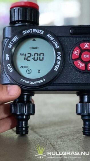 Bevattningstimer två vattenspridare och styr två zoner